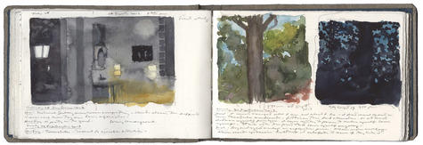watercolor, graphite, and pen and ink on Arches paper in bound volume, open book: 4 x 12'