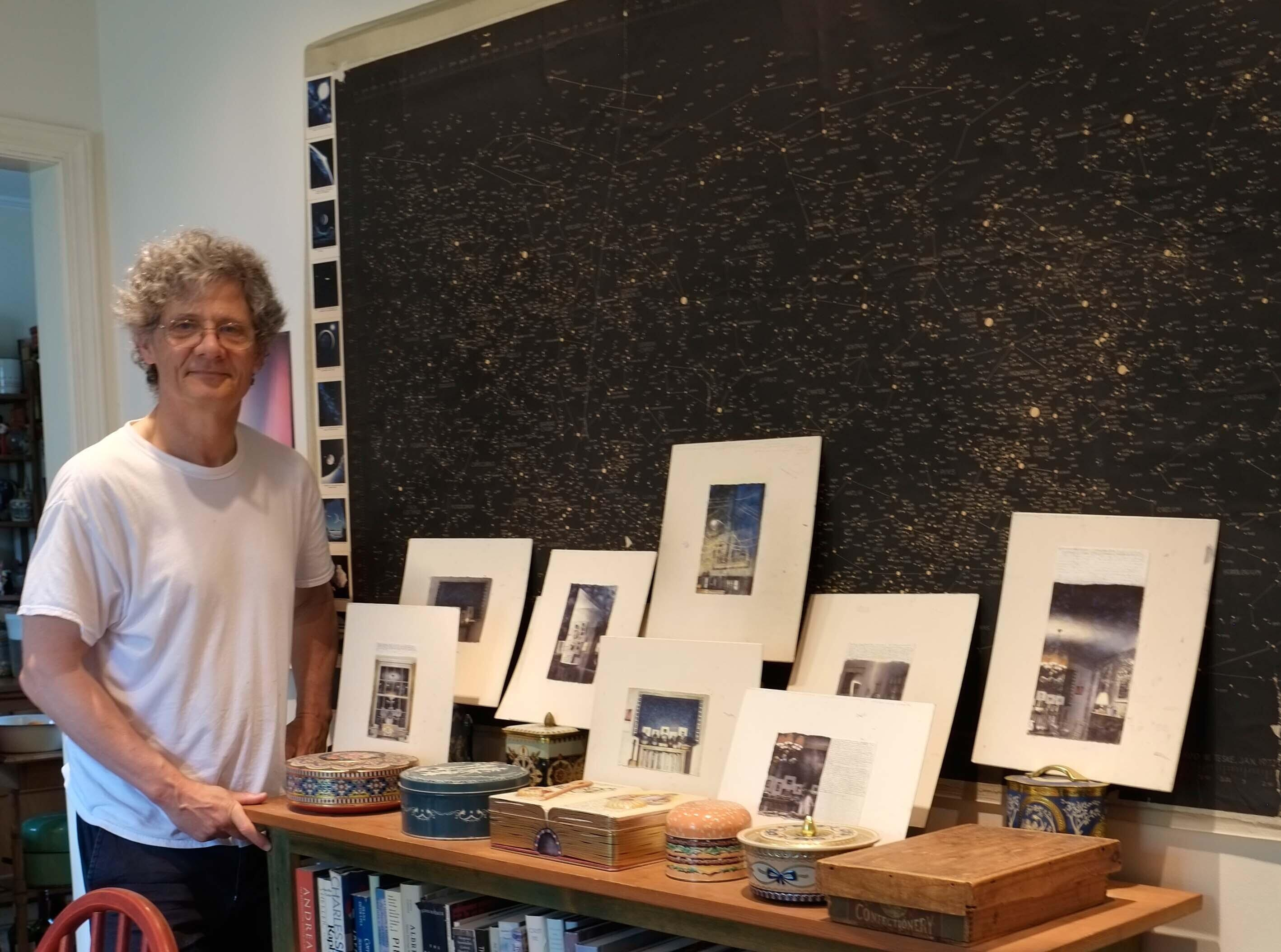 2017, Photograph of Charles Ritchie with Star Map and Drawings.  image