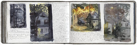 watercolor, graphite, pen and ink and gouache on Arches paper in bound volume