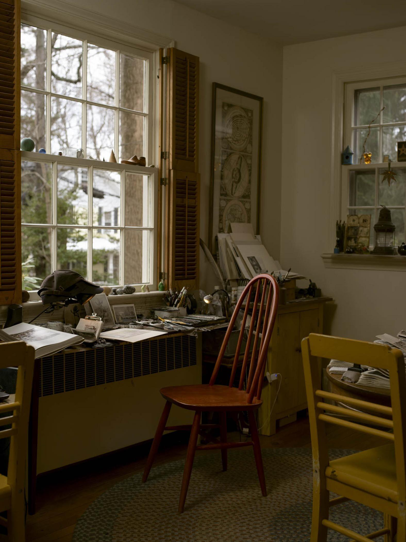 Photograph of the Artist's Desk, Window, and Chair, 2020. See Instagram Artist in the Studio feature @JasonHaam, April 2021. image