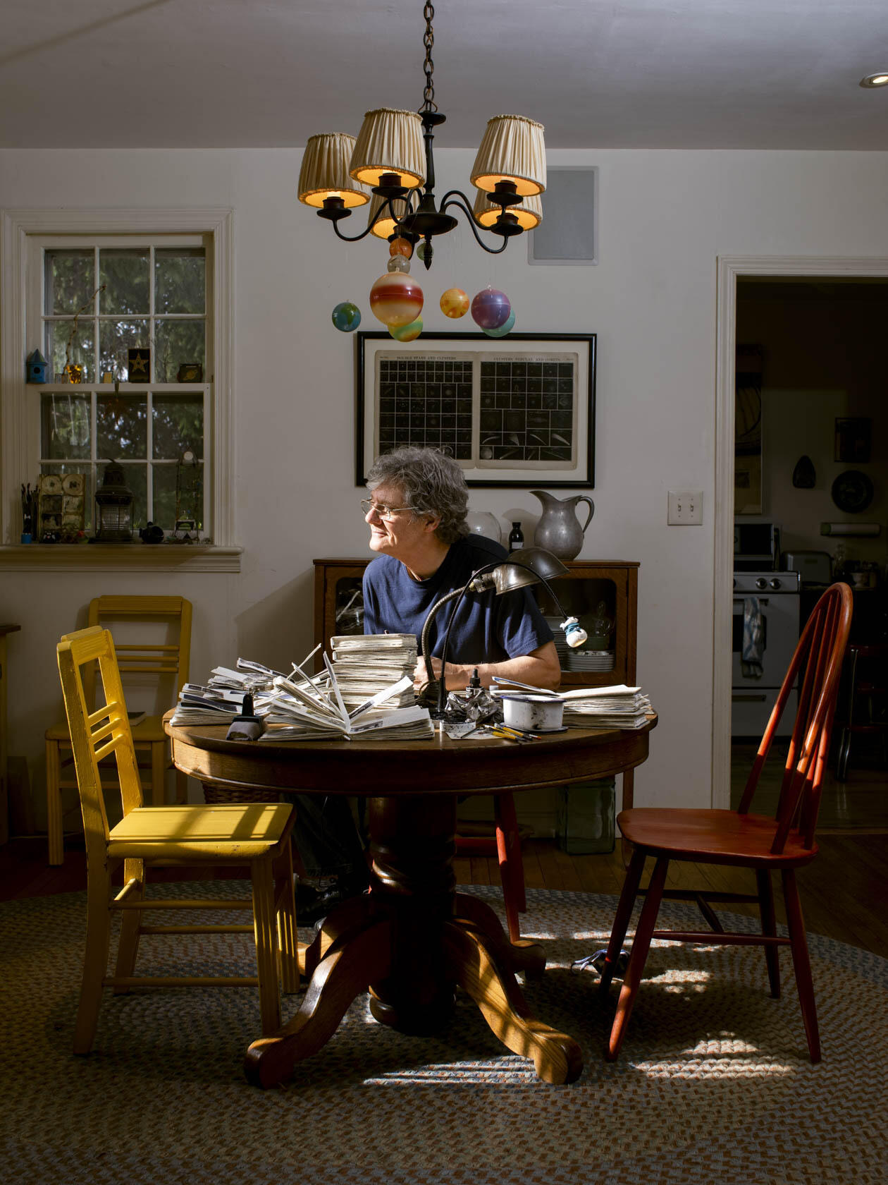 Photograph of the Artist at His Studio Table, 2020. See Instagram Artist in the Studio feature @JasonHaam, April 2021. image