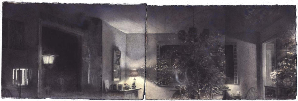 Self-Portrait with Night: Two Panels I image
