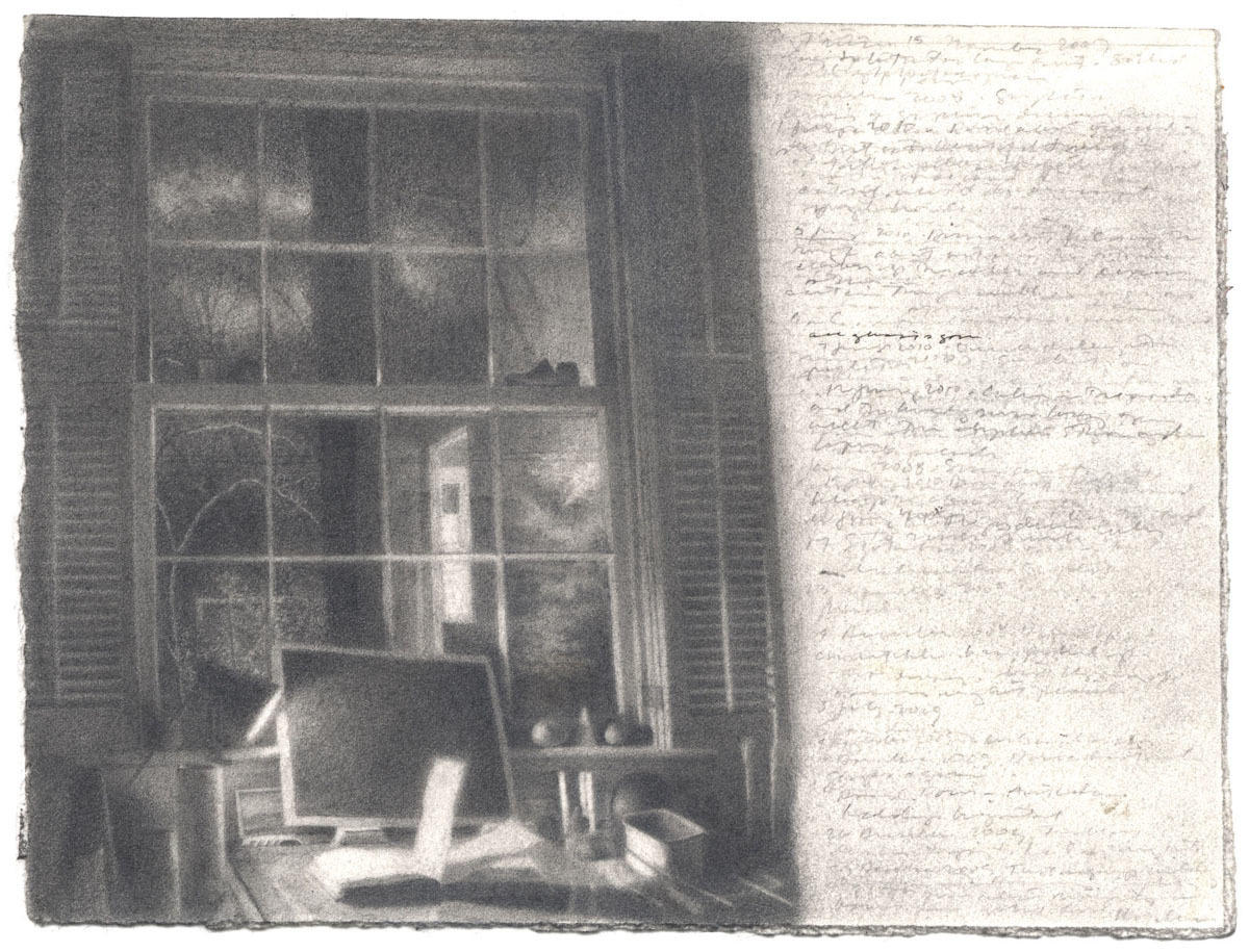 Window with Dark Drawing and Open Journal image