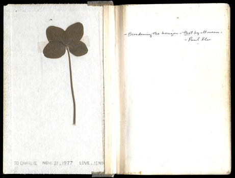 felt-tip pen, graphite, and collage of a clover sprig on wove paper in bound volume