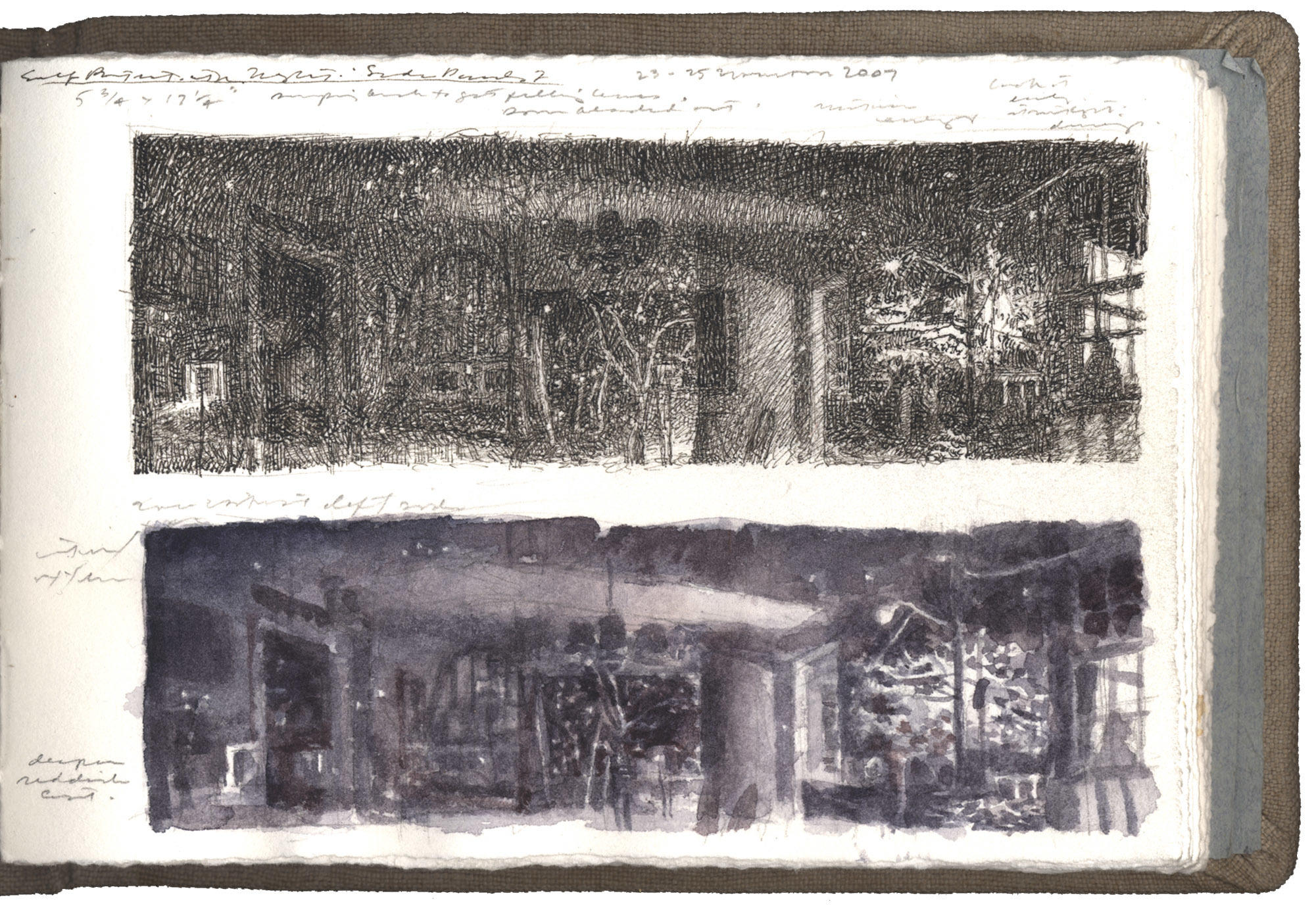 Two Studies for Self-Portrait with Night: Side Panels I image