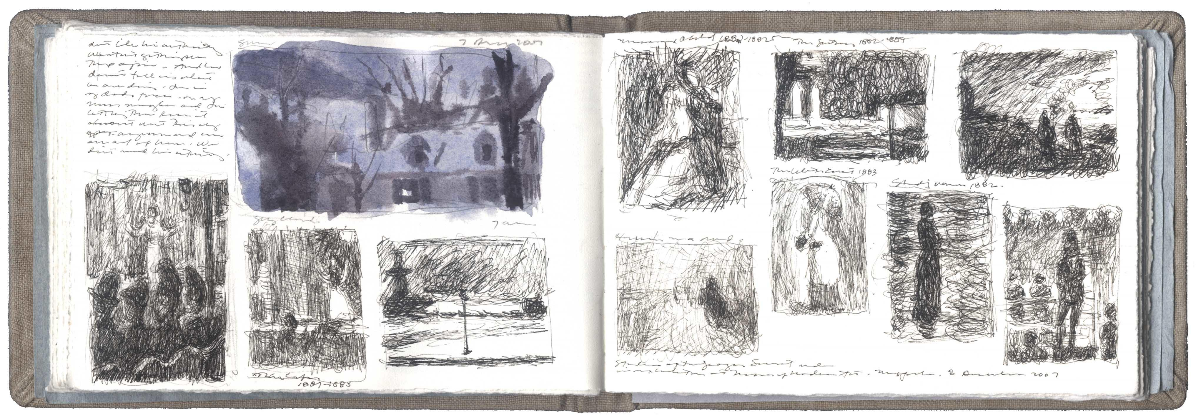 A Watercolor Study of a House and Ten Studies after Drawings by Georges Seurat  image
