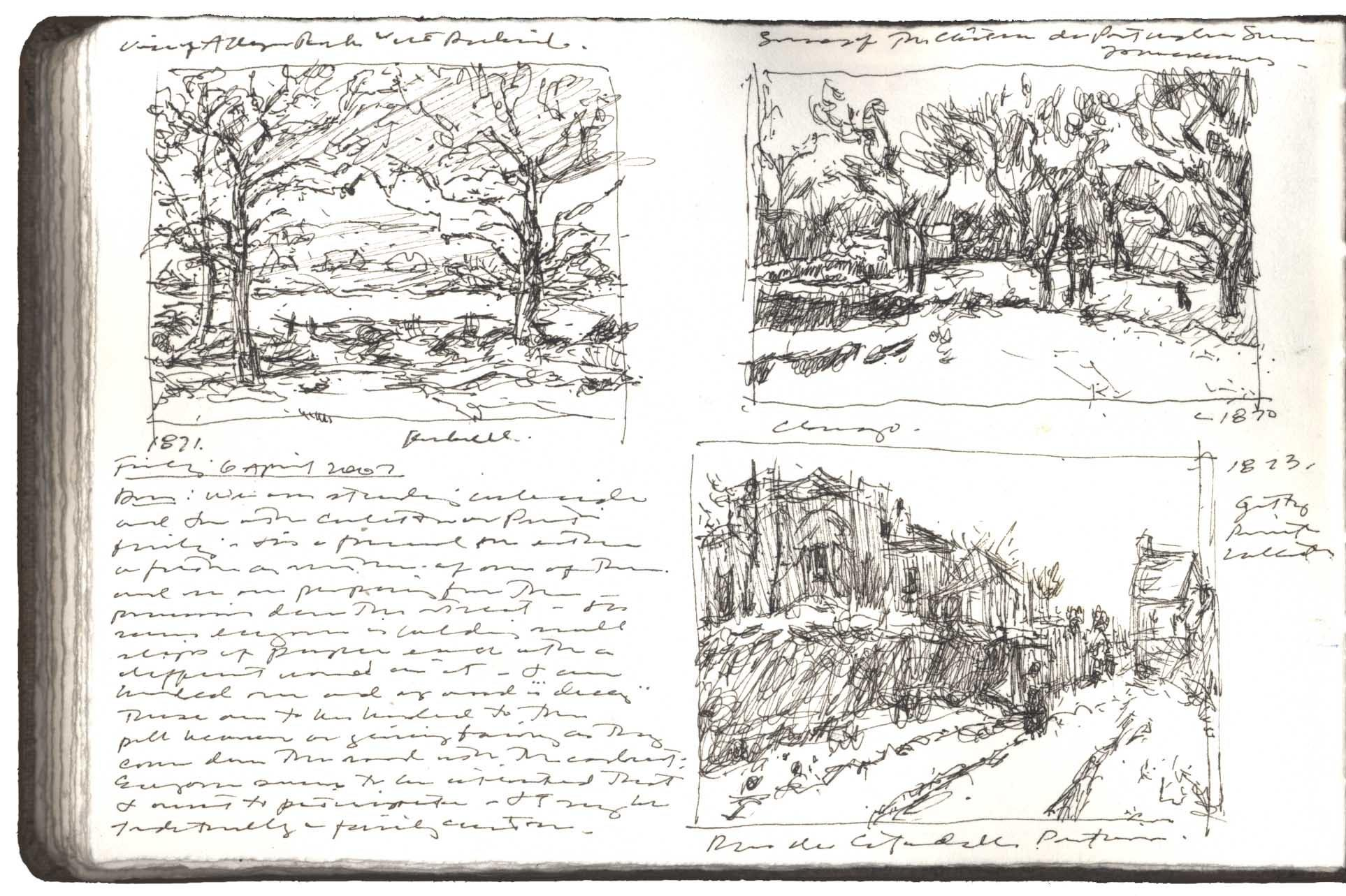 Three Studies after Paintings by Camille Pissarro image