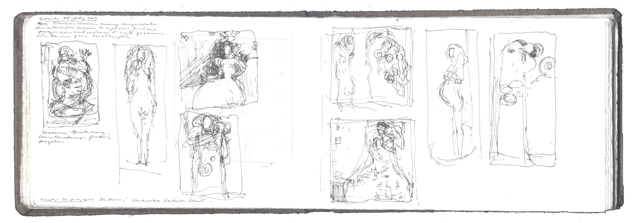 Two pages of sketches after Gustav Klimt and Egon Schiele image