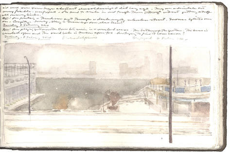 watercolor, graphite, and pen and ink on Fabriano paper in bound volume