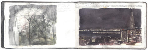 watercolor, graphite, and pen and in on Arches paper in bound volume