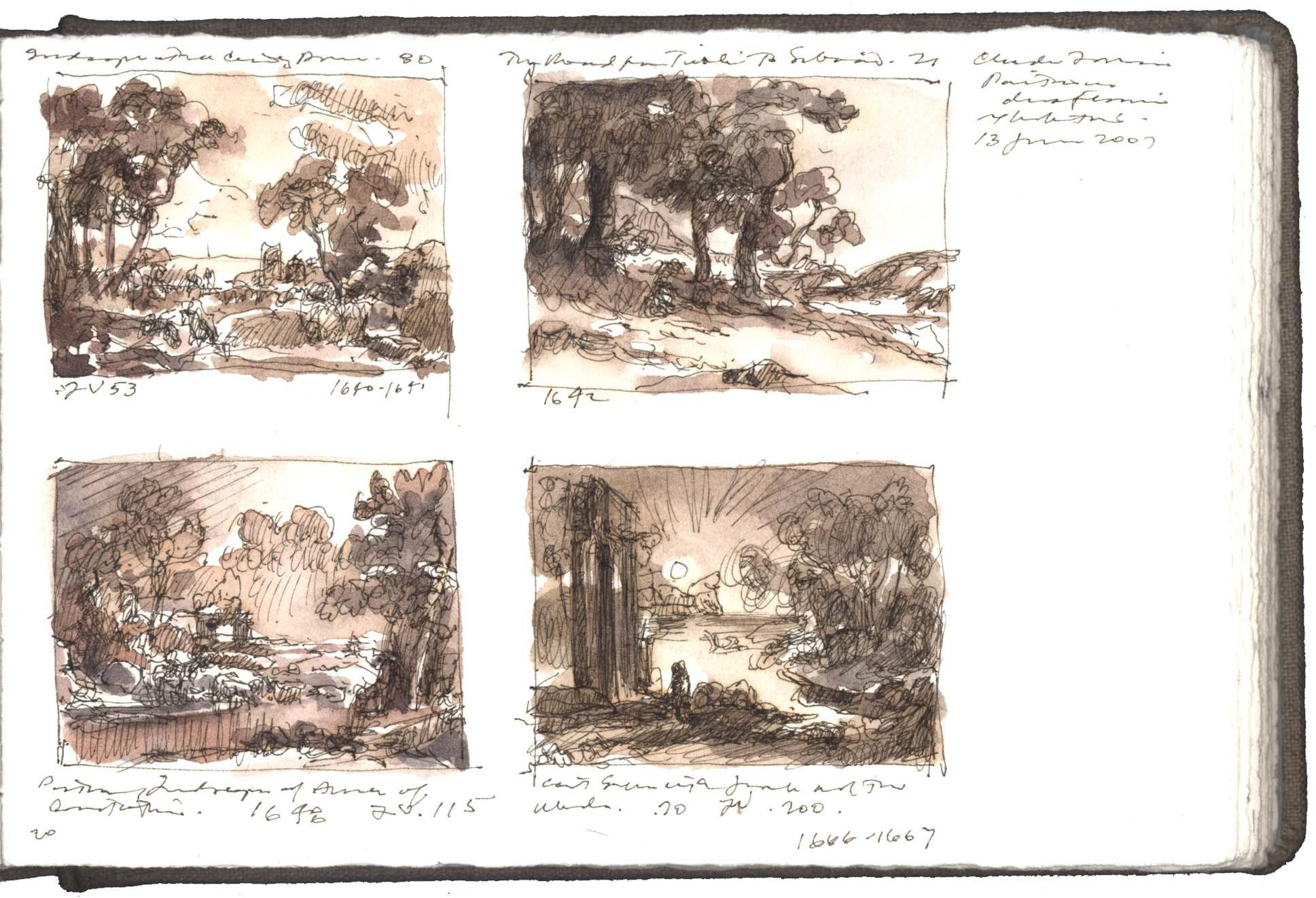 Four Studies after Drawings by Claude Lorrain image