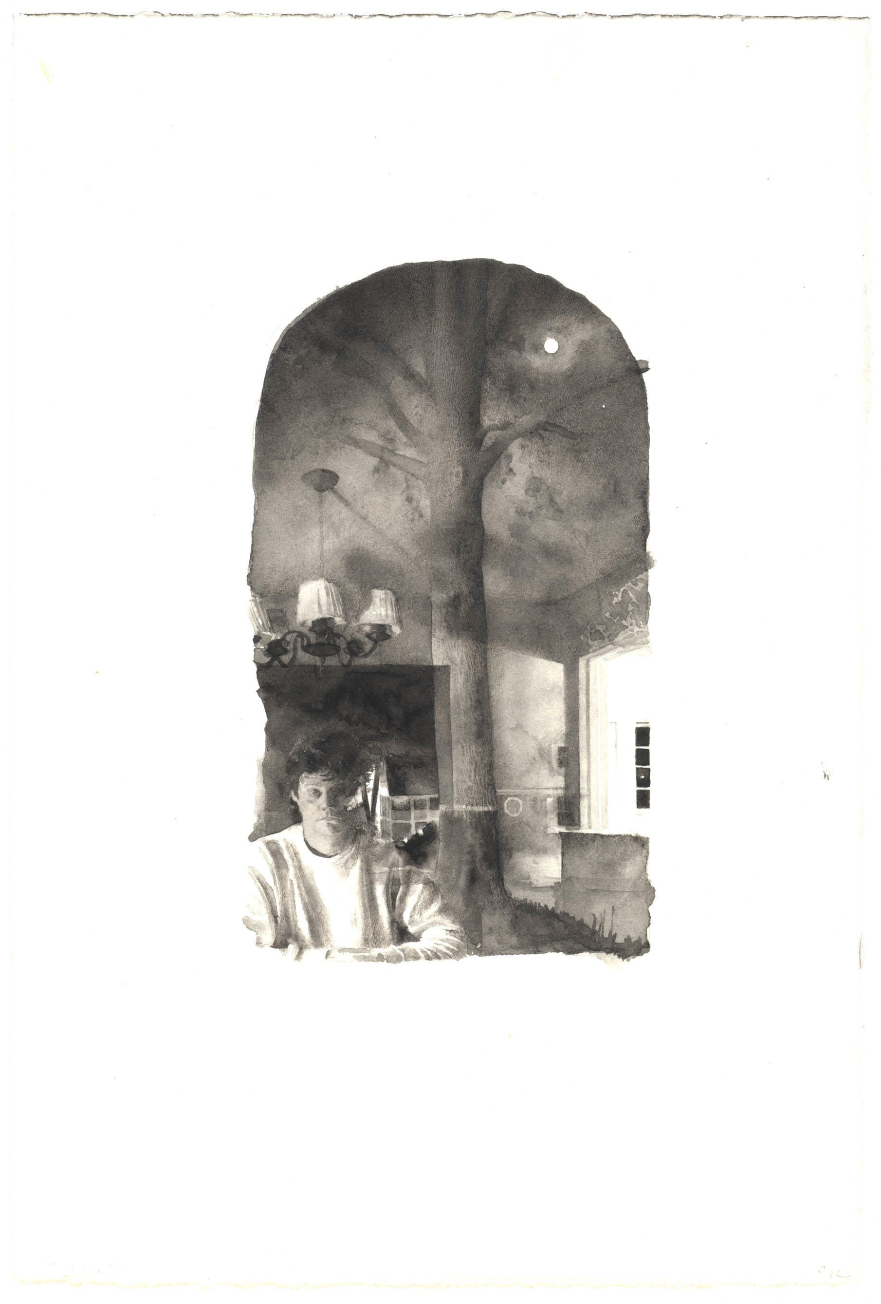 Self-Portrait with Moon and Tree: Second Study image