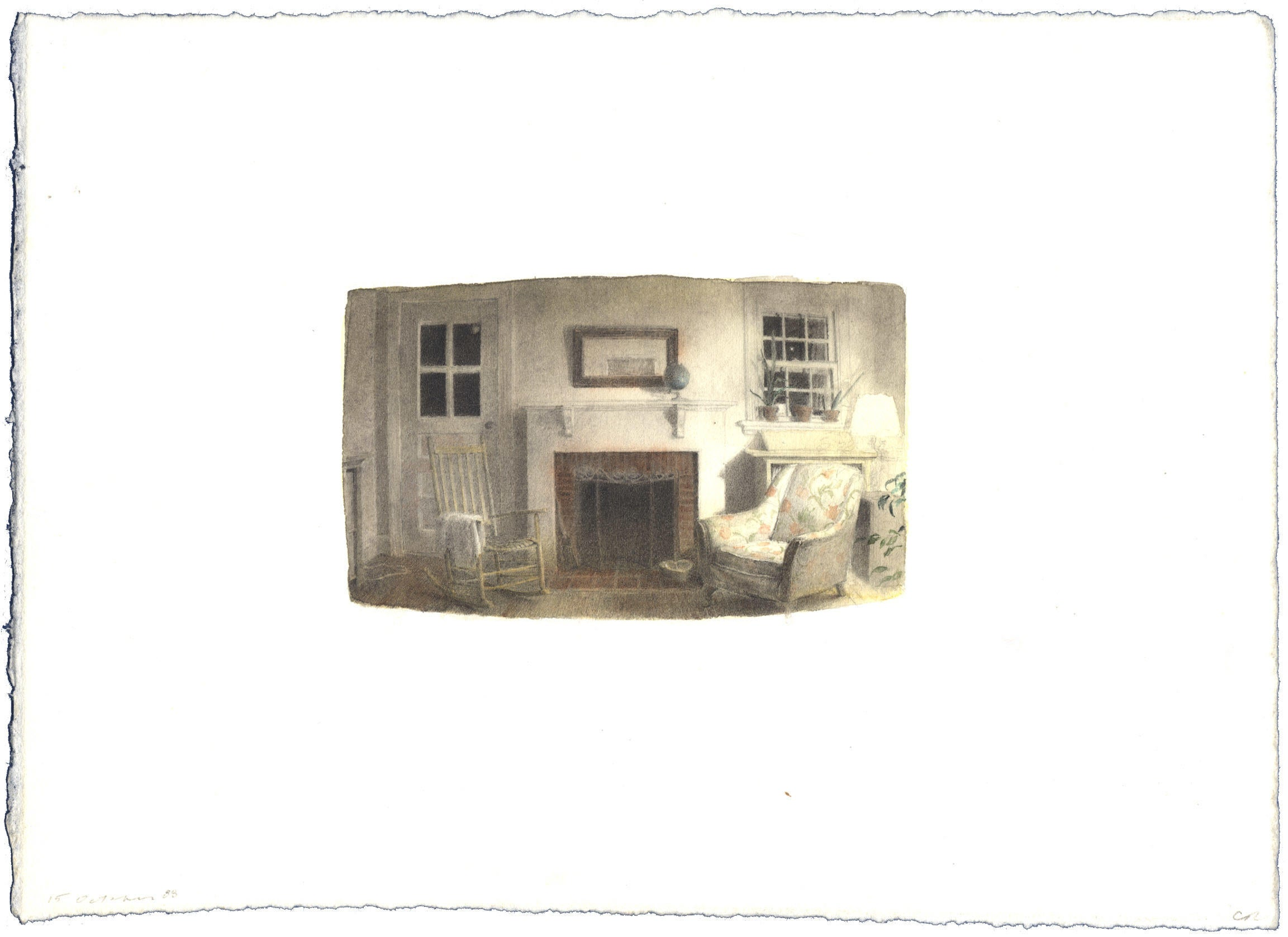 Night Interior: Watercolor image