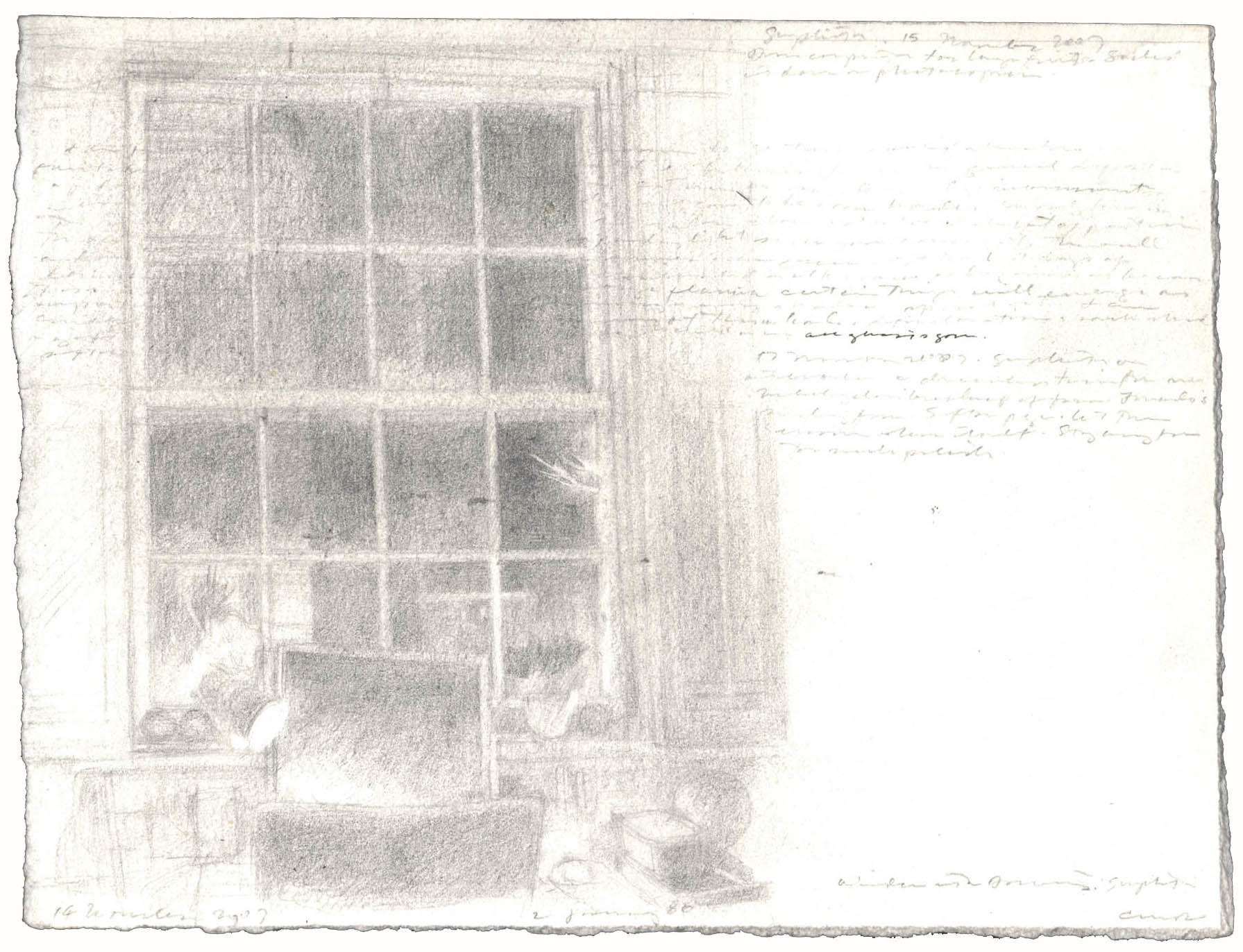 Window with Drawing: Graphite image