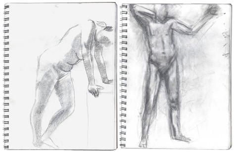 graphite on two sheets of wove paper in ring-bound sketchbook