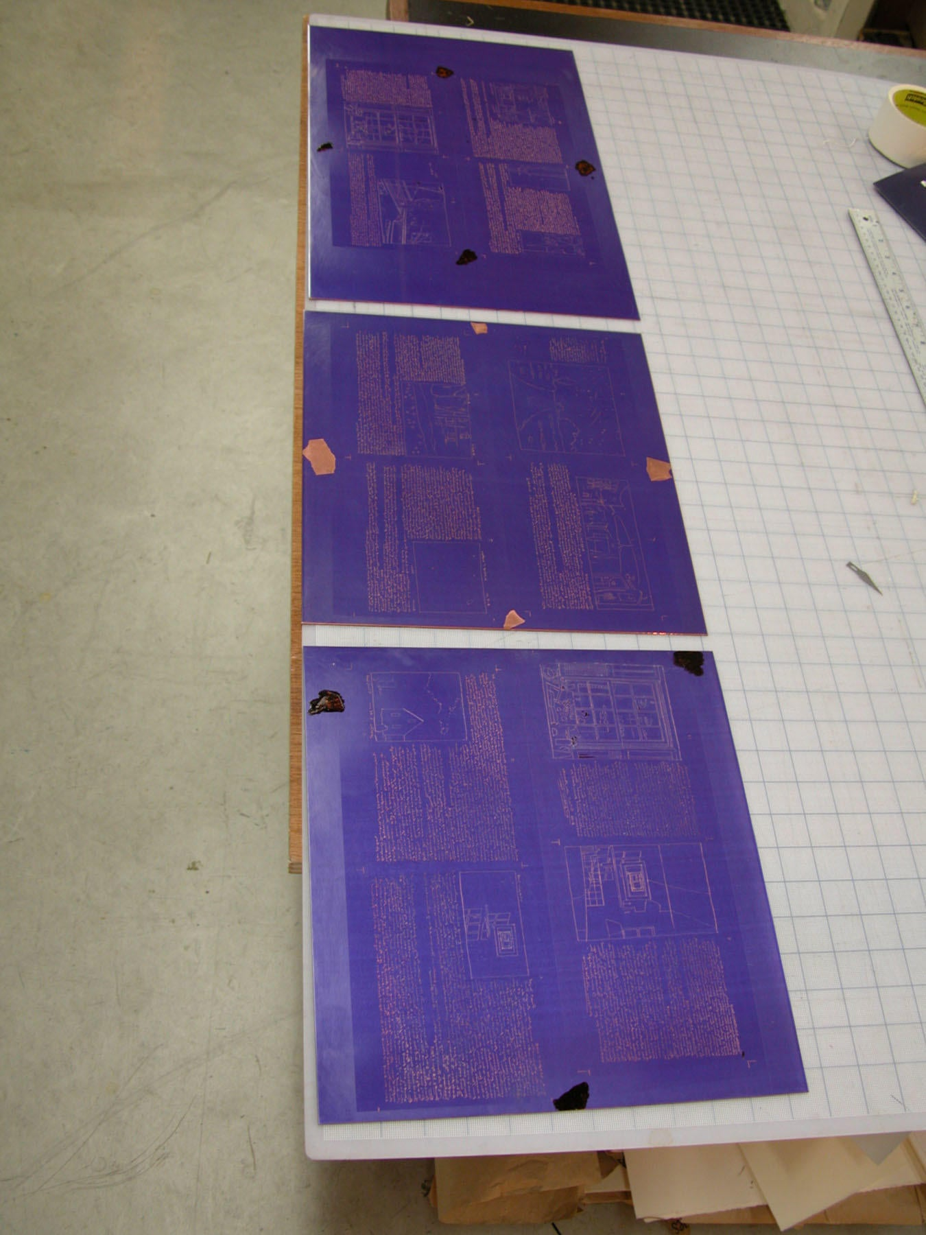 Photograph of Three Etching Plates for Accordion Print Project image