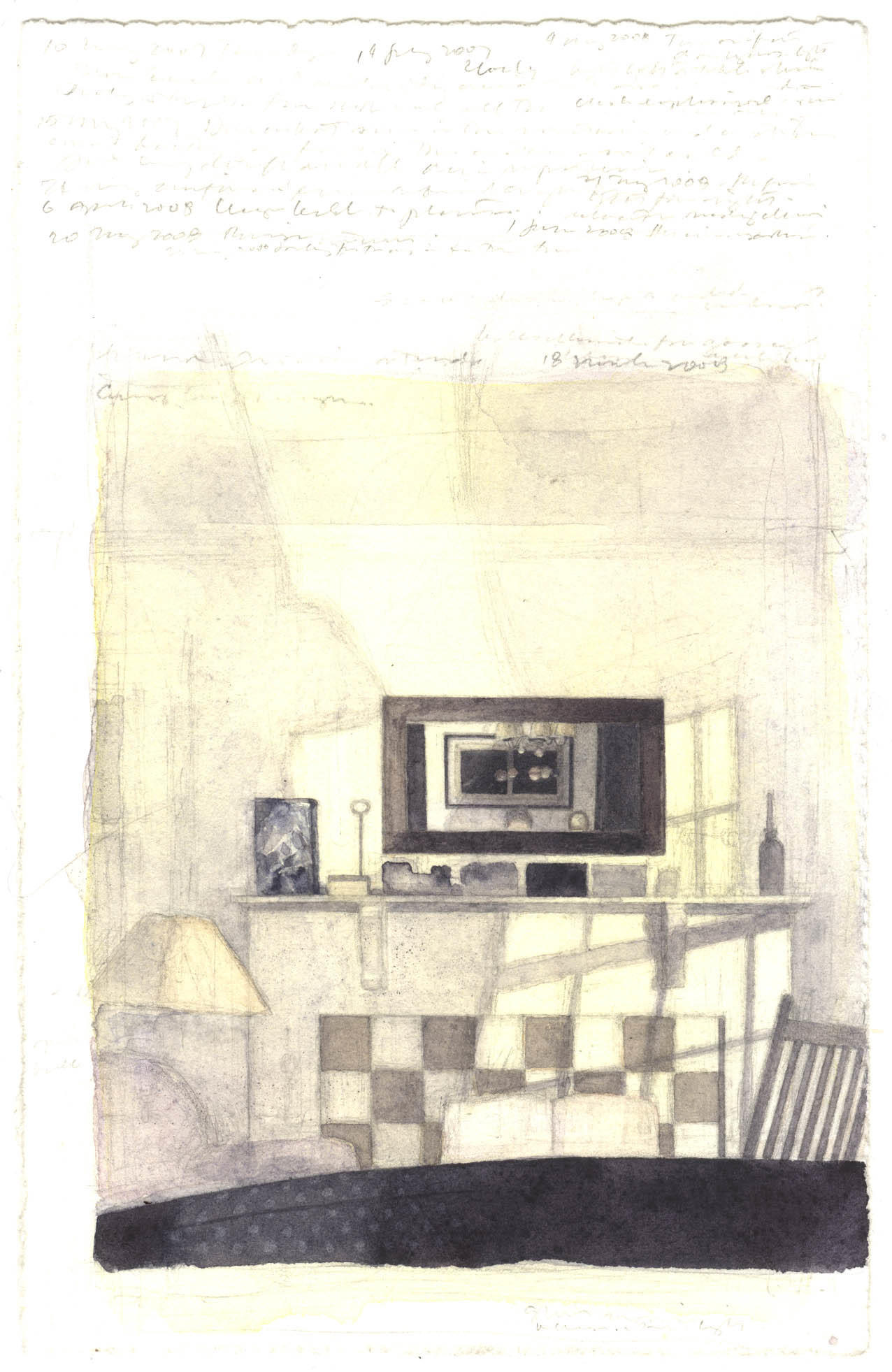 Interior with Shadows: Watercolor image
