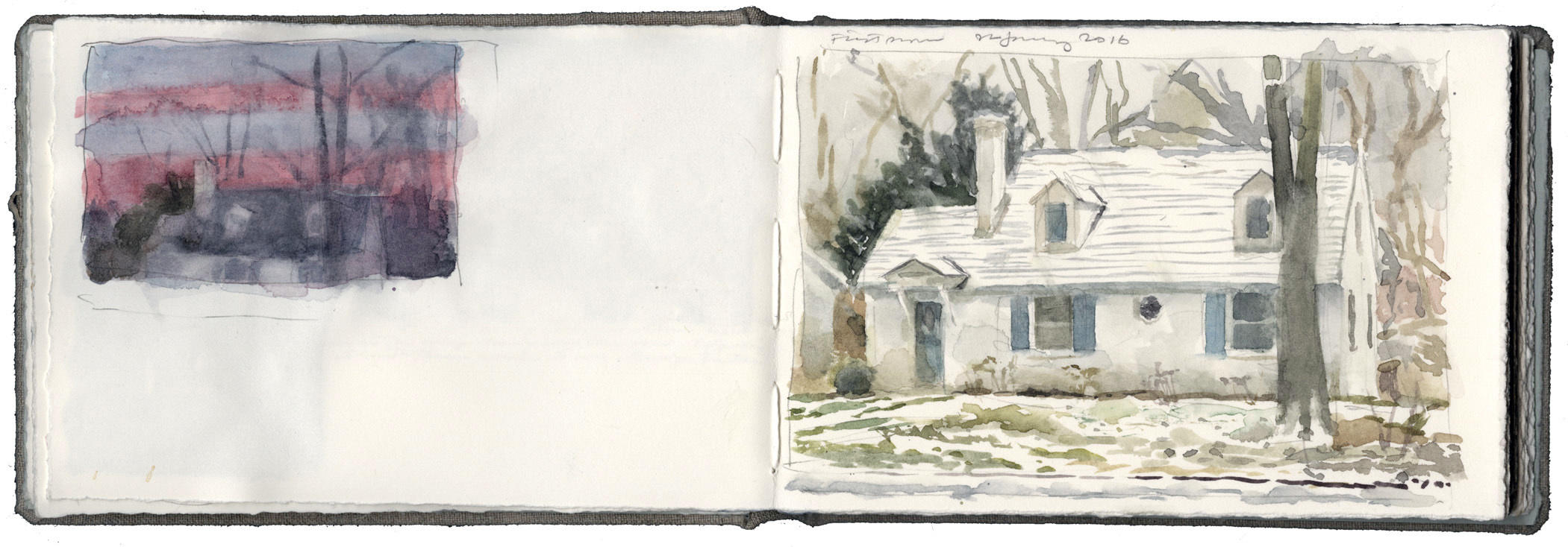 Two Studies: House at Sunrise and House with First Snow image