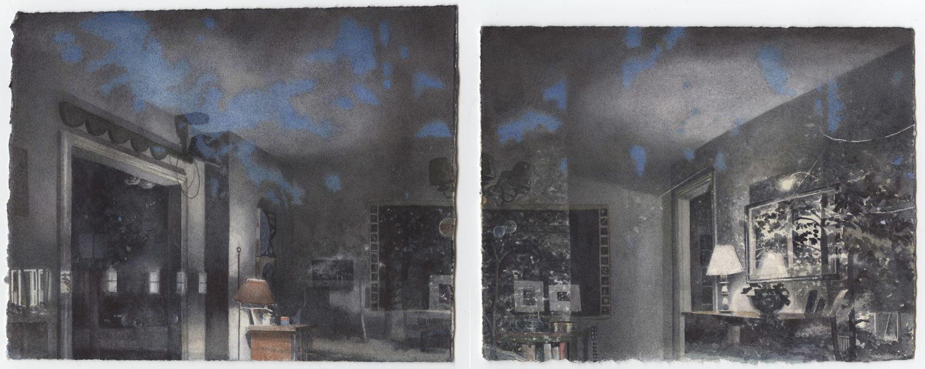 Self-Portrait with Night: Two Panels III image