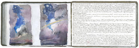 watercolor, graphite, and pen and ink on Arches paper in bound volume